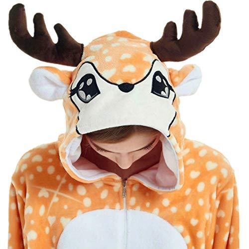 iSZEYU Reindeer Onesie Adult Deer Onsie Pajamas for Women Men Teen Girls Costume