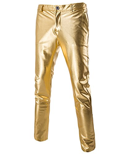 U LOOK UGLY TODAY Men's Party Suit Solid Color Prom Suit for Themed Party Events Clubbing Jacket with Tie Pants Gold-Large