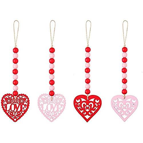 YuKeShop Colgante de pared en forma de corazón para el día de San Valentín, guirnalda de madera para colgar en el día de San Valentín, pieza para decoración de fiesta de boda
