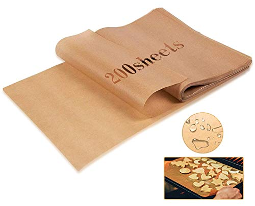 200Sheets Parchment Paper Baking Cookie Sheets,Unbleached Non-Stick Non-Burn Precut Baking paper Best for Grilling Air Fryers Barbecue Steam Baking Cookie Patty(16 x 12 inches)