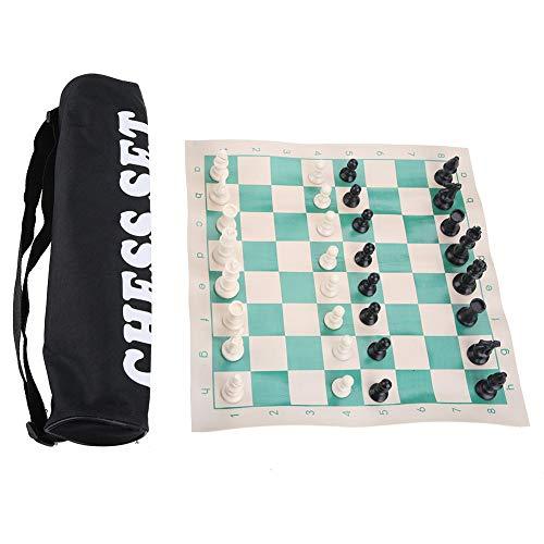 Juego de ajedrez de Viaje de Torneo Juego de Tablero de ajedrez Juego de ajedrez de Viaje Enrollable en Tubo de Transporte con Correa para el Hombro para Principiantes y niños