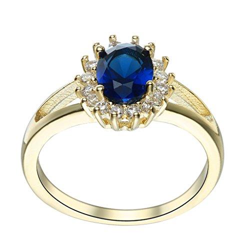 Bigood Women Gold Plated Oval Anniversary Retro Cubic Zirconia Rings Blue 9