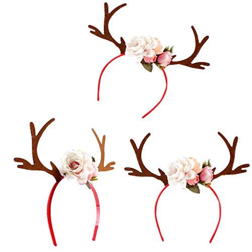 chiwanji Rentiergeweih Geweih Haarreif Damen Mädchen Weihnachten Blumen Rehkitz Rehhaarreif Kostüm Haarband - Rot 3er Set