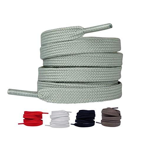 LaceHype 2 Paar - Premium Flache Schnürsenkel reißfeste Schuhbänder [10 mm breit ] Ersatz Shoelaces aus Polyester für Sneakers, Sportschuhe, Laufschuhe, Turnschuhe (Grau, 90)