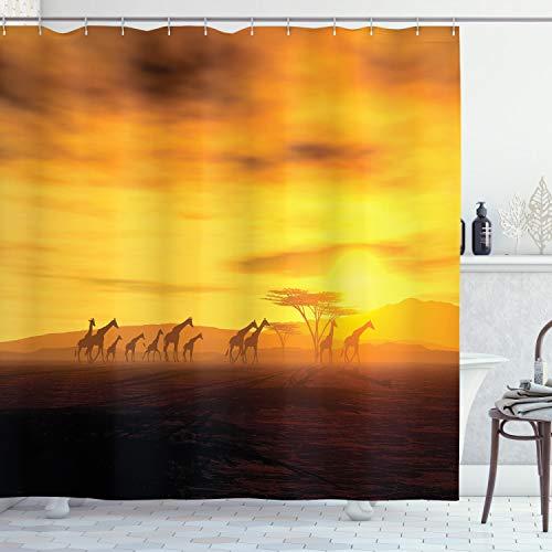 ABAKUHAUS Safari Duschvorhang, Dramatische Sonnenuntergang Giraffen, mit 12 Ringe Set Wasserdicht Stielvoll Modern Farbfest & Schimmel Resistent, 175x200 cm, Ringelblume & Bernstein