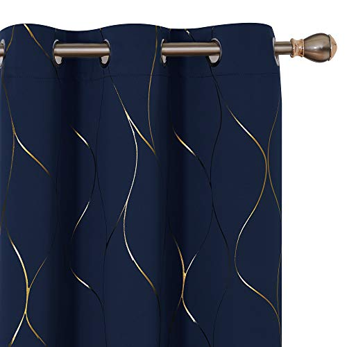 Deconovo Gold Wave Foil Print Blackout Curtains Grommet Light Blocking Curtain Room Darkening Noise Reducing Window Draperies for Living Room 42W x 84L Inch Set of 2 Panels Navy Blue