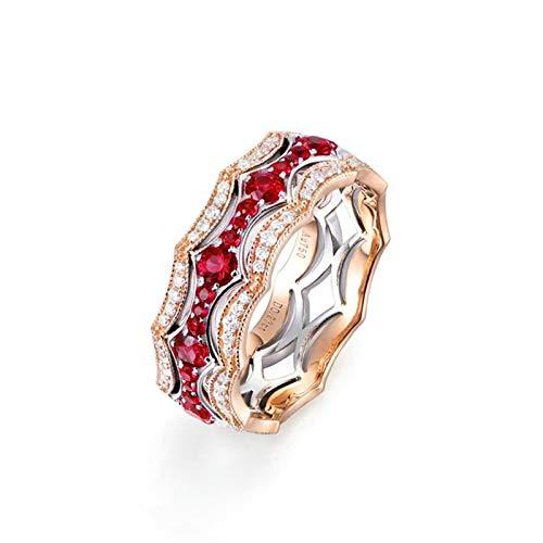 Beydodo Ringe Rotgold 750 Echt mit Rubin 0.52ct Krone Verlobungsring Diamant Echt Große 52 (16.6)