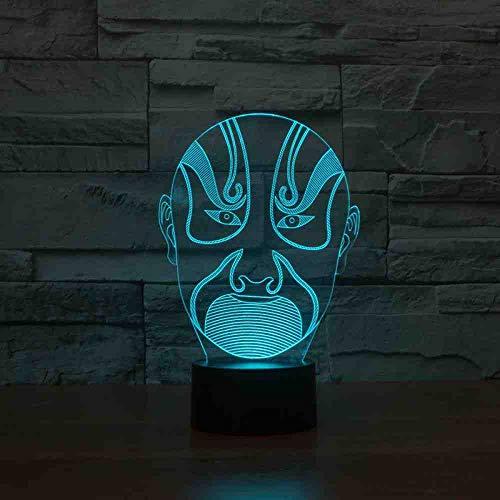 BJDKF Decoratie thuis 3D LED nachtlampje Bedroom Opéra Chinese maskers gezicht make-up lamp usb voor kinderen geschenken kantoor tafellamp
