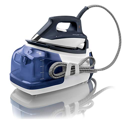 Rowenta DG8510 Perfect Steam 1750-Watt Eco Energy Steam Iron Station Stainless Steel Soleplate, 400-Hole, Blue