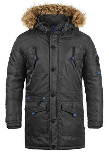 !Solid Betto Herren Winter Jacke Parka Mantel Lange Winterjacke gefüttert mit Kunst-Fellkapuze, Größe:XL, Farbe:Dark Grey (2890)