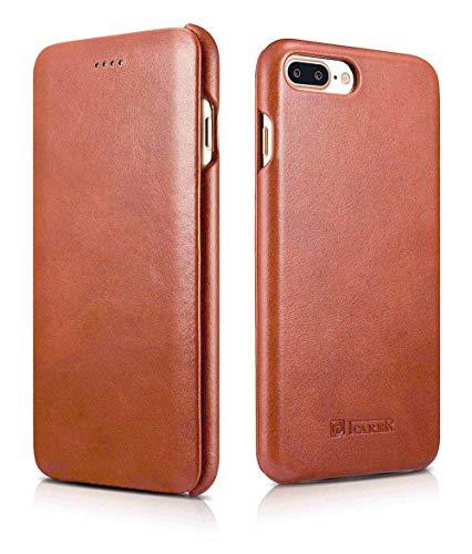 ICARER Tasche passend für Apple iPhone 8 Plus & iPhone 7 Plus (5.5 Zoll), Hülle mit Echt-Leder, Schutz-Hülle klappbar, Ultra-Slim Cover, Etui im Vintage Erscheinungsbild, Braun