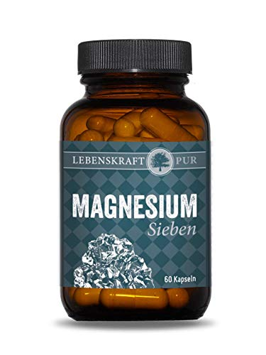 Magnesium Sieben | 60 Kapseln Magnesium Komplex hochdosiert | Magnesium Pur vegan, laktosefrei, glutenfrei aus DEUTSCHLAND