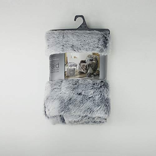 Douceur d'Intérieur - Plaid imitazione pelliccia, in poliestere, dimensioni: 125 x 150 cm, colore: Grigio, Poliestere, grigio, 125 x 150 cm