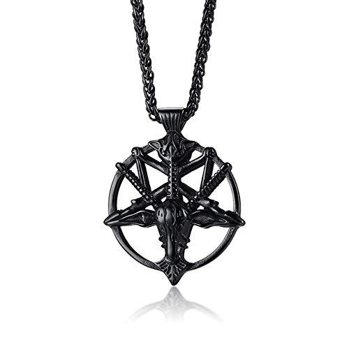 Colgante De Cabeza De Cabra con Pentagrama Invertido De Baphomet Negro, Collar Oculto Laveyan Satanism De Acero Inoxidable Vintage