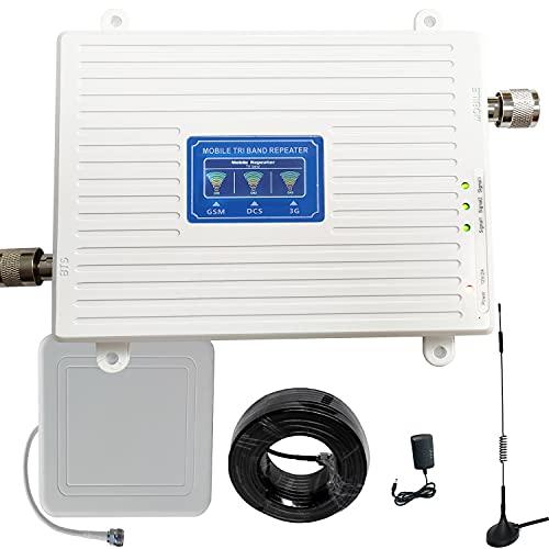Amplificador de señal 4G 3G 2G, repetidor GSM 900 MHz 2100 MHz LTE 1800 MHz para llamadas y datos, señal casa/oficina (900/1800/2100 MHz banda 1/3/8)