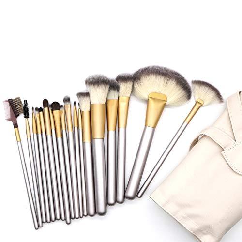 Make-up borstels draagbare lichtgewicht hoogwaardige beige schoonheid make-up kwast kit gereedschap, grootte: 25 * 46cm (18 stuks)