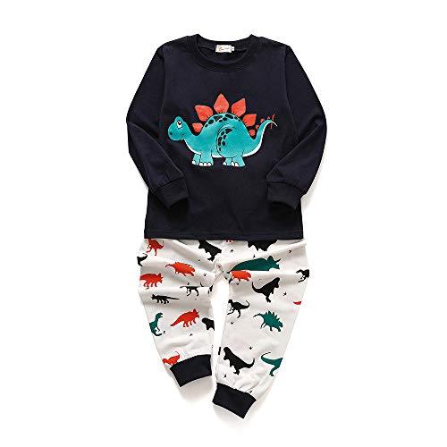 Chickwin Pijamas para Niños Dos Piezas, Niño Niña Algodón Unisex Larga Manga Pijama Impresión de Dinosaurio (Azul Marino,90cm)