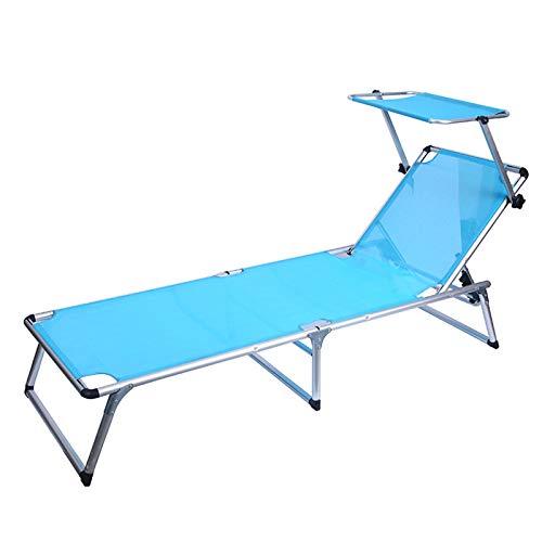 tayer Tumbona de Playa con Parasol, Ajustable Sillas Gravedad Cero reclinables, Silla de Sol con sombrilla, para jardín Patio al Aire Libre tumbonas Cama reclinadora (Azul)