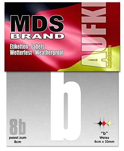 MDS Brand 8cm Buchstaben Aufkleber (a-c) Hausnummer Selbstklebend Weiss (B)