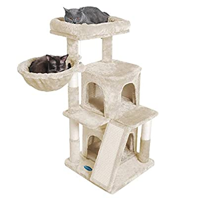 Hey-brother Multi-Level Cat Tree Condo Furniture with Sisal-Covered Scratching Posts for Kittens, Cats and Pets Beige MPJ004M