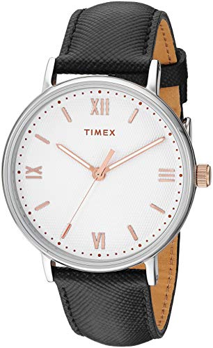 Timex Men's TW2T34700 Southview 41mm Black/White/Rose Gold Leather Strap Watch