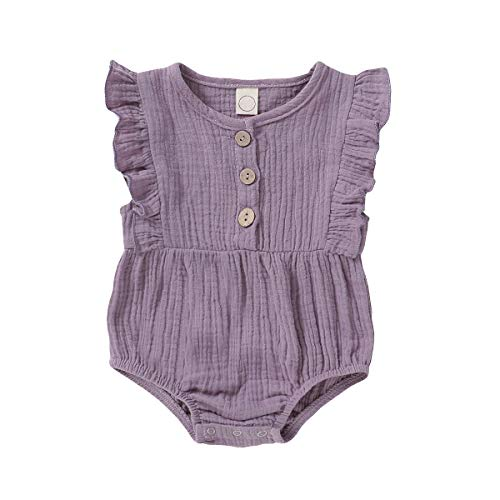 Toddler Rompers for Girls Sleeveless Onesies Baby Girl Summer Clothes Ruffle Sleeve Bodysuit Cute Purple Solid Color Tops