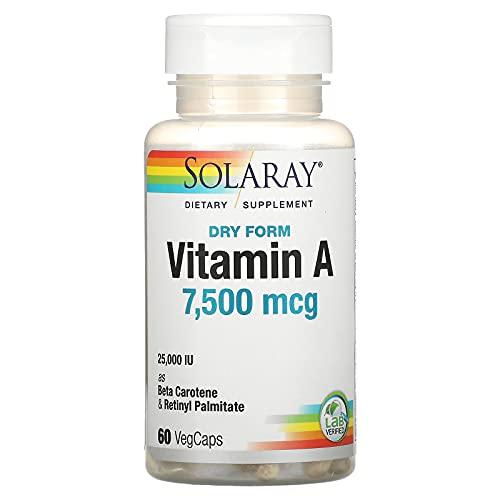Solaray Dry Form Vitamin A 25,000 IU   Healthy Skin & Eyes, Antioxidant Activity & Immune System Function   60 VegCaps