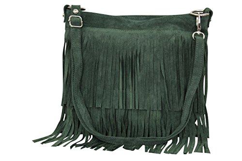 AMBRA Moda bolso de las señoras gamuza con refriega WL809 (verde oscuro)