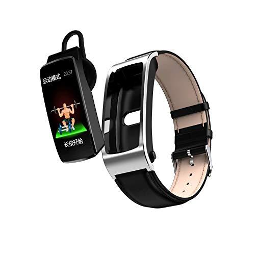 TAOYATAO Reloj inteligente impermeable con monitor de frecuencia cardíaca, monitor de actividad, pulsera de fitness con contador de pasos, contador de calorías, podómetro (K11 piel marrón plateada)