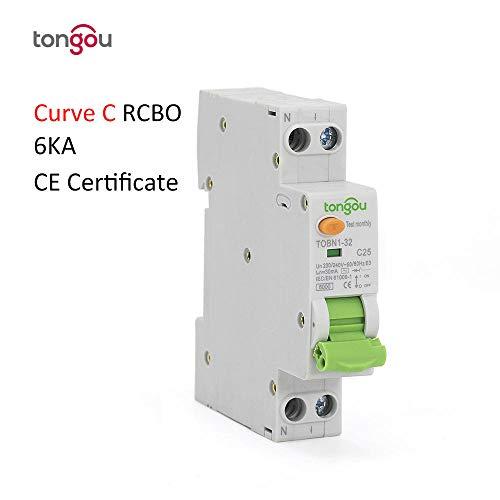 RCBO C Tipo di curva AC 6KA 18mm 16A 10mA 30mA 100mA 300mA Interruttore di corrente residuo con protezione da sovracorrente e perdite-10mA_C10