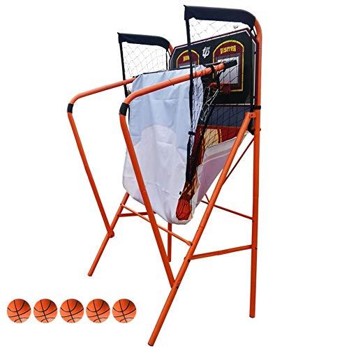 WENZHE Redes Aros Canasta De Baloncesto Tableros Portátiles De Baloncesto Interior Adulto Doble Electrónico Puntuación Maquina De Tiro Plegable, 205x124x204cm