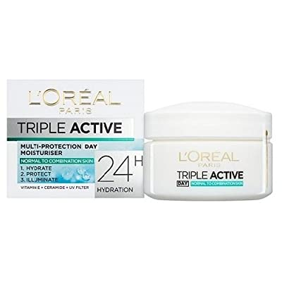 L'Oreal Paris Triple Active Day 24H Hydrating Moisturiser Normal to Combination Skin 50 ml by Loral Paris