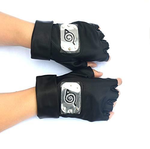 Naruto Hatake Kakashi Konoha Stirnband Maske Cosplay Zubehör Ninja Waffe Rüstung Werfen Darts Kunai Hokage Handschuhe Requisiten Gr. M, Schwarz