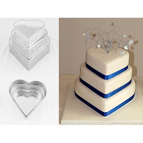 EURO TINS teglia per torta nuziale multistrato 3 strati Cuore - set da 3-20cm, 25cm e 30cm