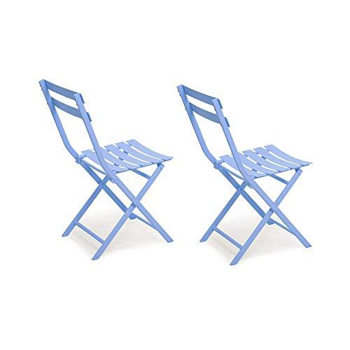 MLMHLMR 2 sillas de Ocio al Aire Libre Plegable de Metal Bistro jardín Patio Silla Plegable Silla (Color : Blue)