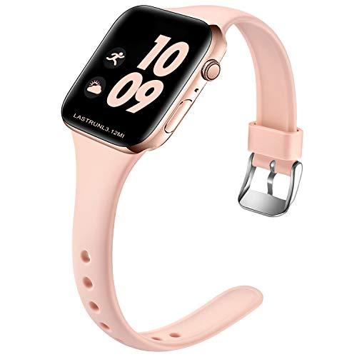Wepro Kompatibel für Apple Watch Armband 38mm 40mm, Schlank Dünnes Weiches Silikon Ersatzarmband mit Klassischer Schnalle für Apple Watch SE/iWatch Series 6 5 4 3 2 1 S/M, Sand Rosa