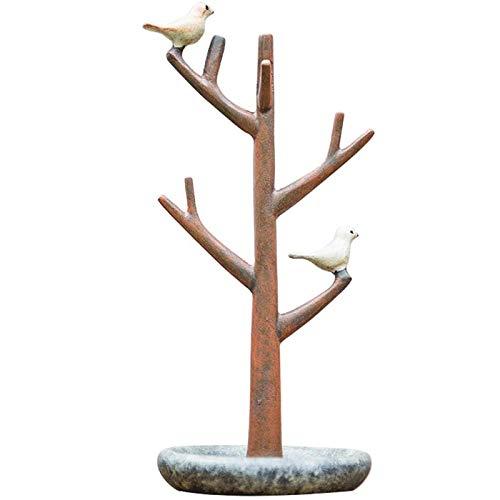 XinLuMing Creative Bird Tree Forma Resina Joyería Pantalla Soporte Estante Decorativo Cruces Memoria Organizador Pequeños Anillos, Pendiente (Color : 1)