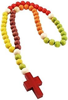 Non Toxic Wooden Kiddie Rosary with 5 Different Colors 21-inch Boxed, Nice Baby, Christening and/or Nursery Gift (011)
