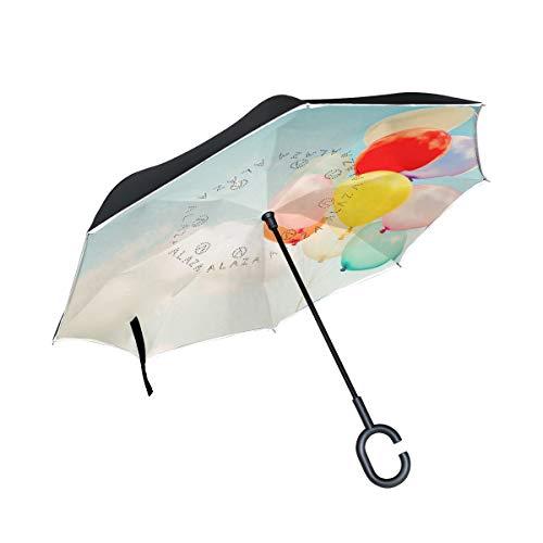 hengpai Umgekehrter Regenschirm mit Autos, bunte Luftballons im Himmel, winddicht, UV-beständig, doppelschichtig, für Frauen
