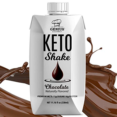 Genius Gourmet All Natural Keto Shakes Ready to Drink - Low Carb Keto Snacks to Go | Premium MCTs, 1g Sugar, 6g Protein (Chocolate, 11.16 Fl Oz (Pack of 12))