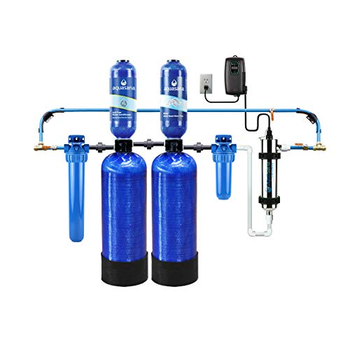 Aquasana EQ-WELL-UV-PRO-AST Whole House Well Water Filter System w/ UV Purifier & Salt-Free Descaler - Filters Sediment & 97% Of Chlorine - Carbon & KDF Home Water Filtration - 500,000 Gl