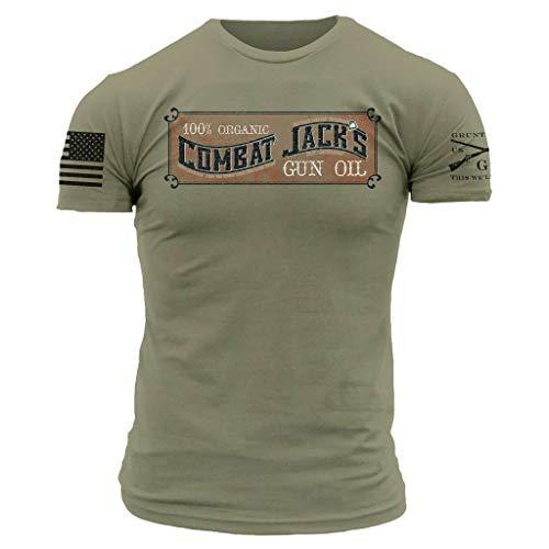 Grunt Style Combat Jack's Gun Oil Men's T-Shirt, Color Light Olive, Size X-Large