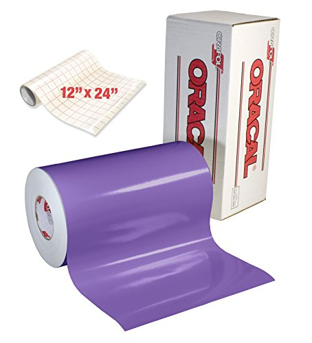ORACAL 651 Gloss Lavender Adhesive Craft Vinyl for Cameo, Cricut & Silhouette Including Roll of Clear Transfer Paper (6ft x 12')
