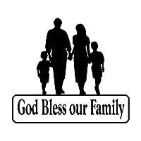 カーステッカー 15センチメートル* 13.3センチメートル神はカースタイリング安全ビニール窓用ステッカーを思い出させるために私たちの家族を祝福します カーステッカー (Color Name : Black)