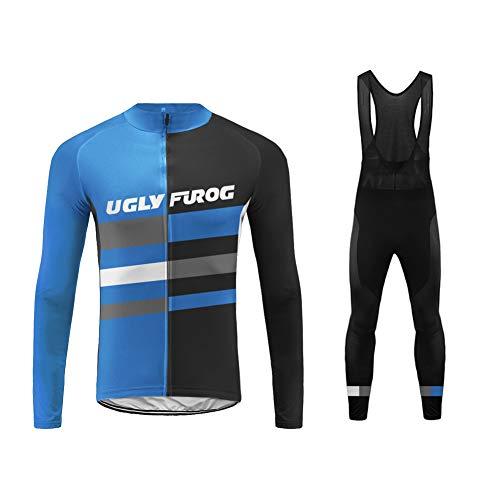 Uglyfrog Traje de Ciclismo para Hombre de Equipos Profesionales. De Imvierno. Manga Larga. Culotte y Maillot. con 20D Gel Pad. para MTB, Spinning, Bicicleta de Carretera