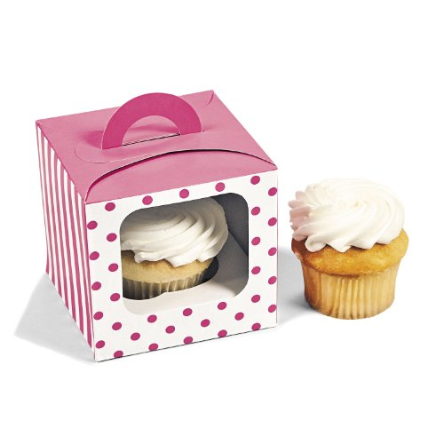 1 X Candy Pink Polka Dot Cupcake Boxes (12 pc)