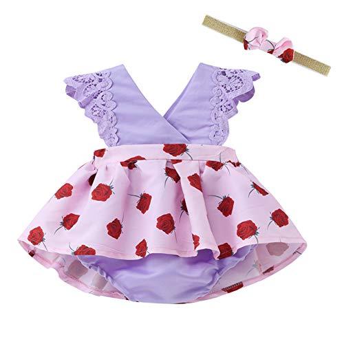 iKulilky Conjunto de Diadema de Ropa de bebé,vestidopantalones de pañal Mini Falda recién Nacida Vestido de Fiesta de Bautizo recién Nacido Vestidos de niña de Flores de Manga Corta (Púrpura) - 100CM