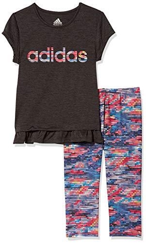 adidas Girls' Toddler Short Sleeve Top & Capri Legging Clothing Set, Always On Black, 3T