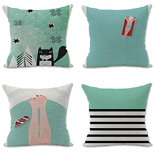 KaiXINSun Throw Pillow Fundas Paquete De 4 18X18 Pulgadas Funda De Almohada Decorativa Cuadrada Casa Sofá Funda Invisible Cremallera 45X45Cm Green Ocean Fox