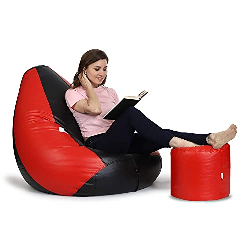 Urban Style Decore Bean Bags with Footrest Combo Filled with Beans/ fillers Size XXXL Black - Red